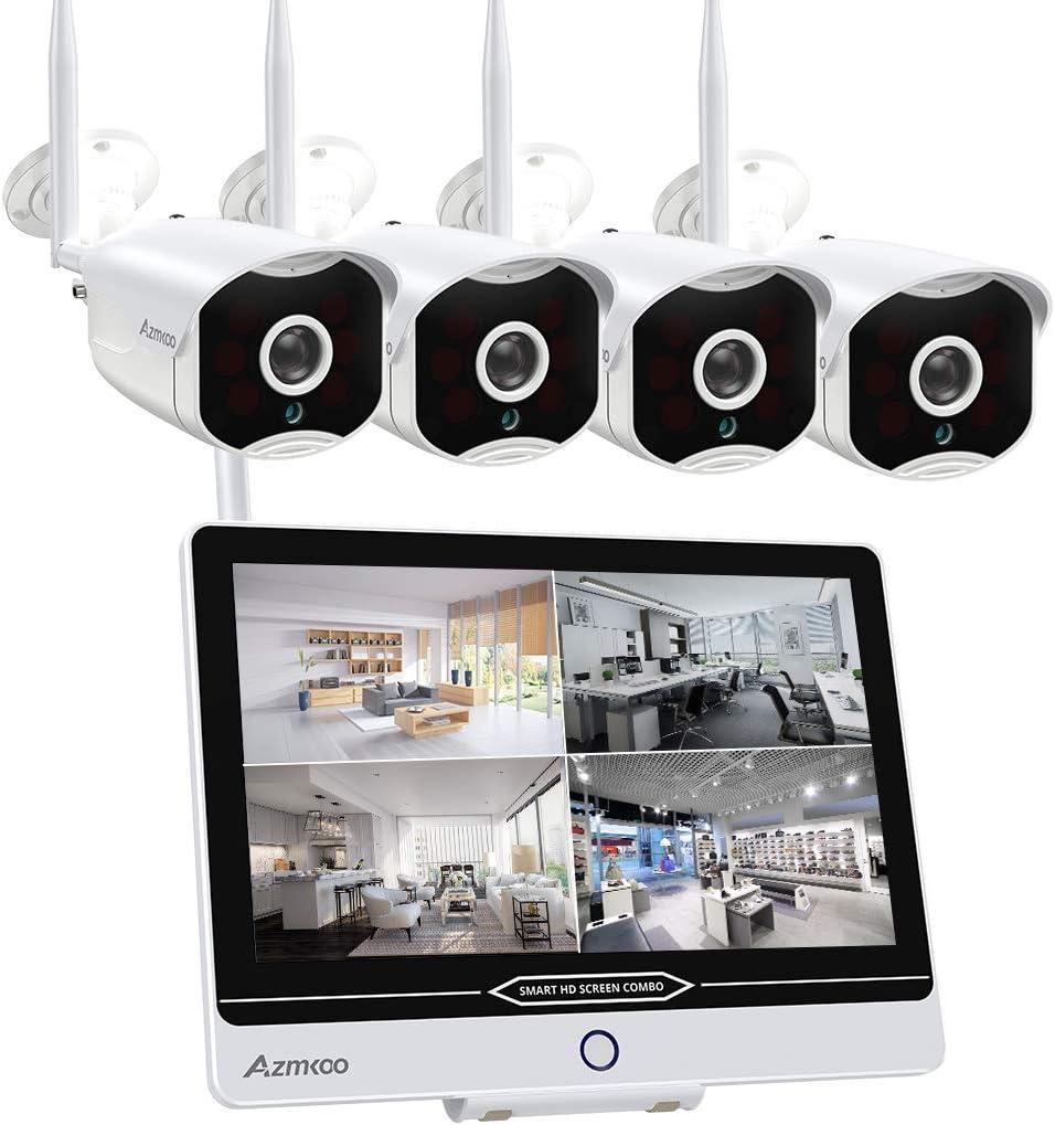 Juego de cámaras de vigilancia con monitor de 8 canales, 12 pulgadas, 5 MP, inalámbricas, NVR y 4 cámaras IP WiFi de 1080p, preinstaladas para interior y exterior