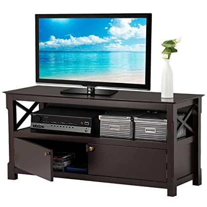 Lcd Tv Stand Designs Wooden : Amazon.com: yaheetech x design wood tv stand storage console for tvs