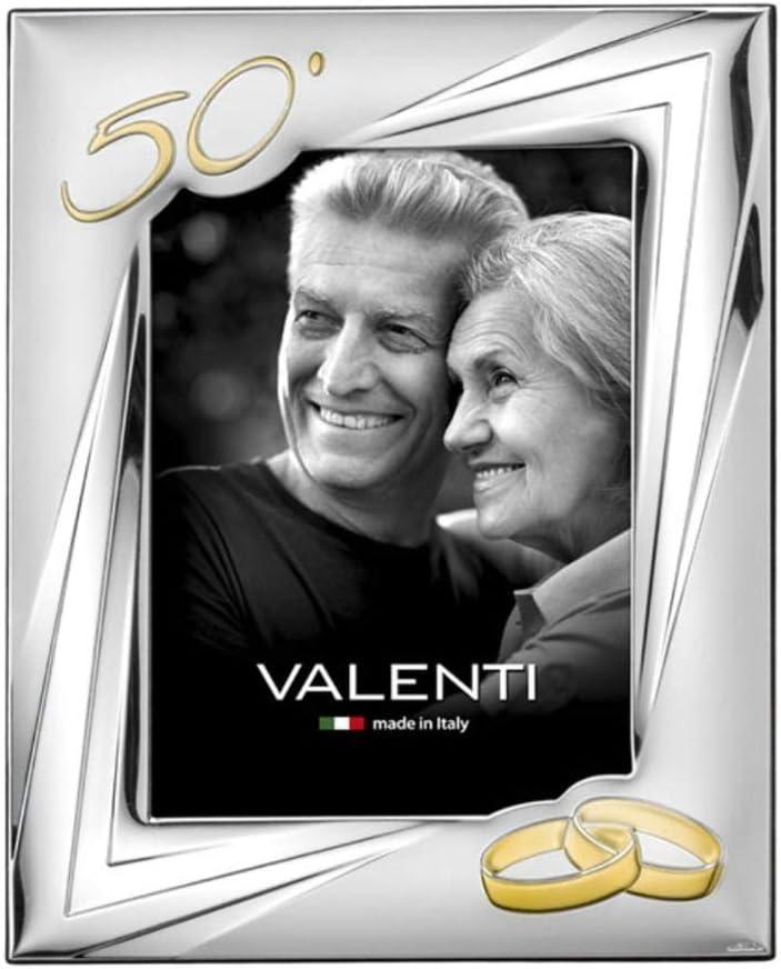 Valenti&Co - Marco Plateado 13x18 cm Boda de Oro: 50 años de Matrimonio o Cinco años de parientes, Abuelos o mamá y papá.