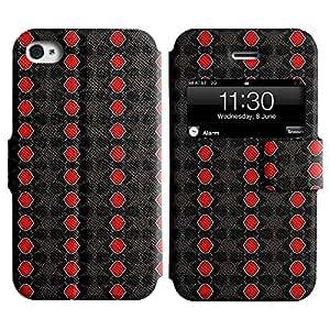 LEOCASE patrón de color rojo Funda Carcasa Cuero Tapa Case Para Apple iPhone 4 / 4S No.1004803