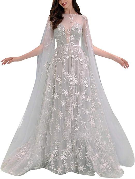 Vestido de novia para mujer, vestido de noche de encaje con tiras ...