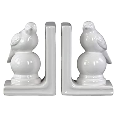 Urban Trends Ceramic Perching Bird on a Ball Pedestal Bookend with Gloss Finish, White