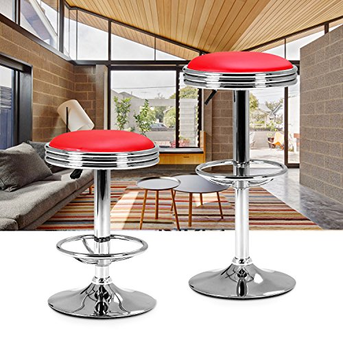 LCH Swivel Bar Stool adjustable Height - 24 to 31 inch,300lbs Capacity, Hydraulic Lift, Extra Large Round PU Leather Backless Seat,Chrome Plated Footrest and Base,Modern Style Heavy Duty Chair,Red - Backless Chrome Swivel Bar Stool