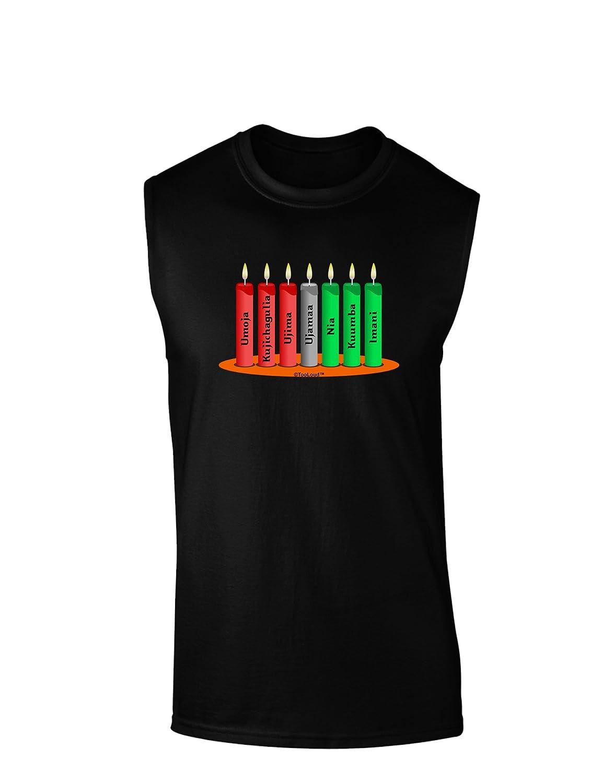 TooLoud Kwanzaa Candles 7 Principles Dark Muscle Shirt