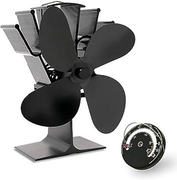 AcornSolution Ventilador de estufa, alimentado por calor para estufa de leña, chimenea de leña, respetuoso con el medio ambiente y eficiente ventilador (negro): Amazon.es: Hogar