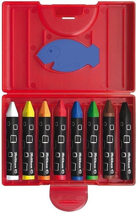 Pelikan 722942 - Estuche de Cera, Resistente al Agua, de plástico con 8 lápices Triangulares Gruesos (Ceras + Bloc de Dibujo DIN A3): Amazon.es: Juguetes y juegos