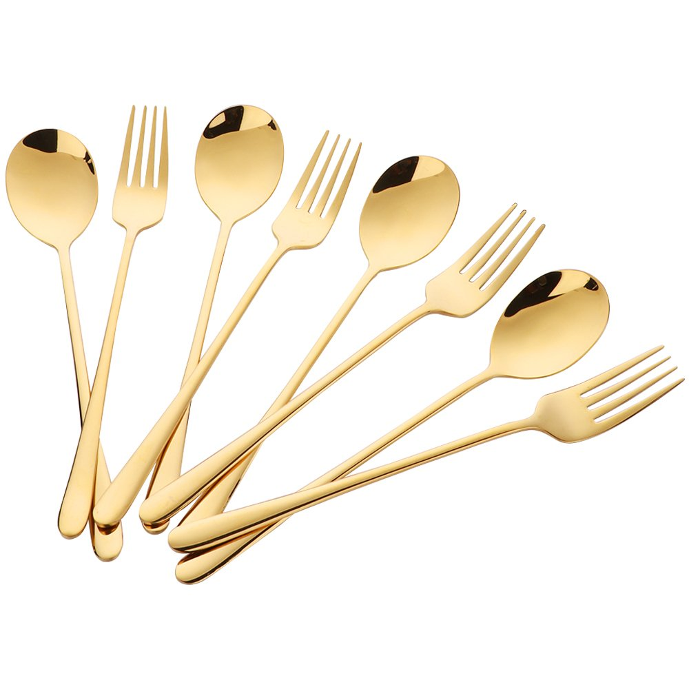 Buyer Star 8 Piece Gold Stainless Steel Spoons and Forks Set Dessert Spoon Fork Set Luxury Fork Spoon
