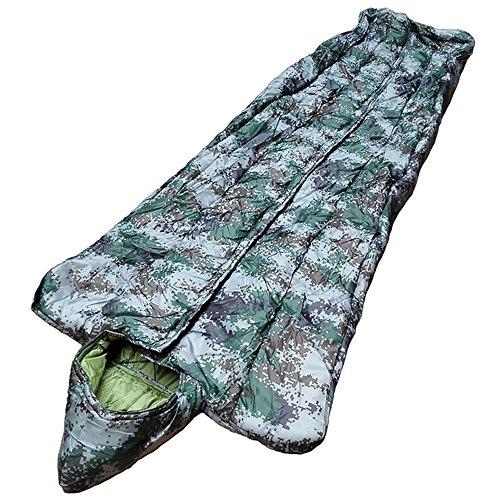 LJHA shuidai Saco de Dormir Momia/Algodón/Adulto Invierno al Aire Libre Acampar Senderismo Camo Saco de Dormir con Bolsa de Compresión 220 * 75 (40) cm