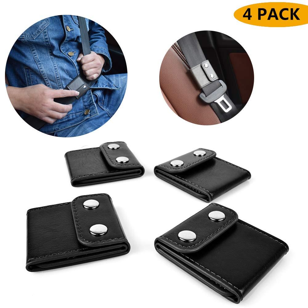 Seatbelt Adjuster,Comfort Auto Shoulder Neck Strap Positioner Locking Clip Protector,Universal Vehicle Car Seat Belt Safety Covers (4 Pack, Black)