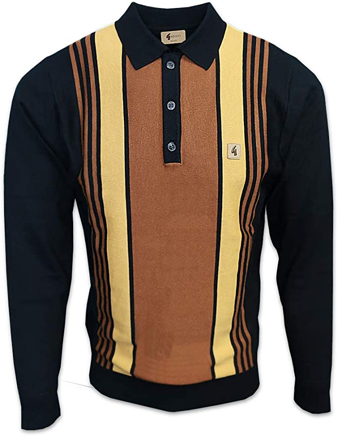 1960s Menswear Outfits | 60s Fashion for Guys Gabicci Mens Searle 60s Stripe Knit Polo Jumper £69.95 AT vintagedancer.com