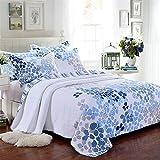3-Piece Comforter Set, Printed Quilt Set, Queen, Blue