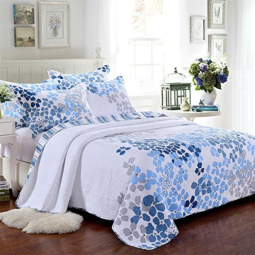 3-Piece Comforter Set, Printed Quilt Set, Queen, (Single Face Quilted Cotton Fabric)