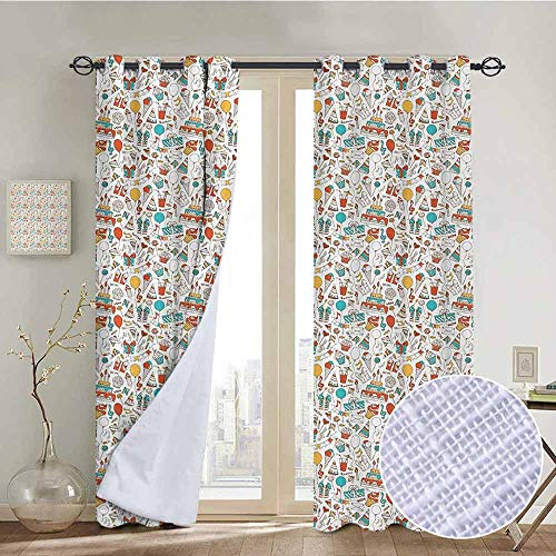 Blackout Curtains Birthday,Boxes Garlands Music Notes Party Blowouts Cakes Candies Pie Party Hats,Aqua Orange Mustard,Thermal Insulated Panels Home Décor Window Draperies for Bedroom a84