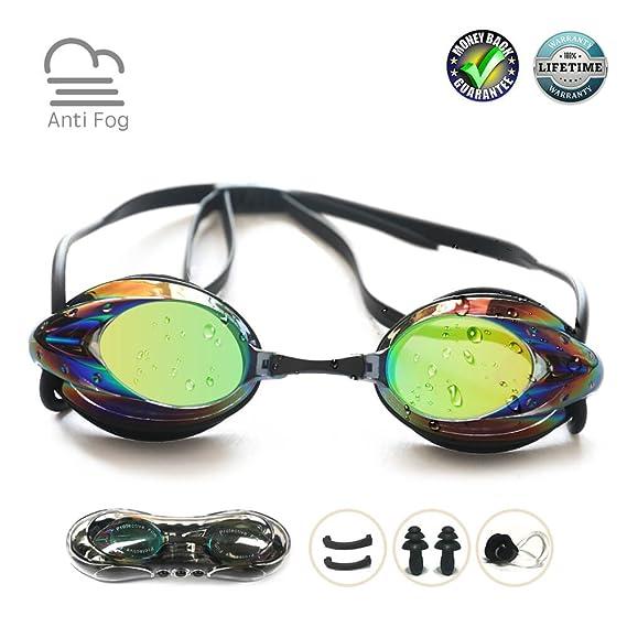 Review Swim Goggles, Swimming Goggles No Leaking Anti Fog UV Protection Shatterproof Professional Comfortable Adjustable Triathlon Mirrored Swim Glasses Competitive Lap Swim Goggles for Men Kids Women Adult