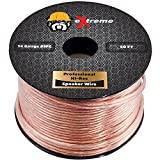 Heavy Duty 14 Gauge Speaker Wire – Pure Copper Core (Stranded) Audio Cable for Home Theater Speakers Radio Speakers Car Audio or Any Audio Interface – 50 Feet (Clear) by eXtreme Consumer Products
