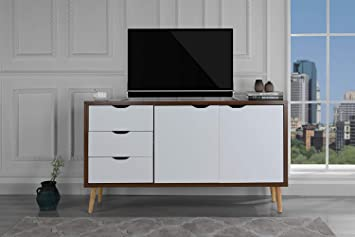 Amazon Com Modern Wooden Tv Stand Cabinet With Drawers Brown
