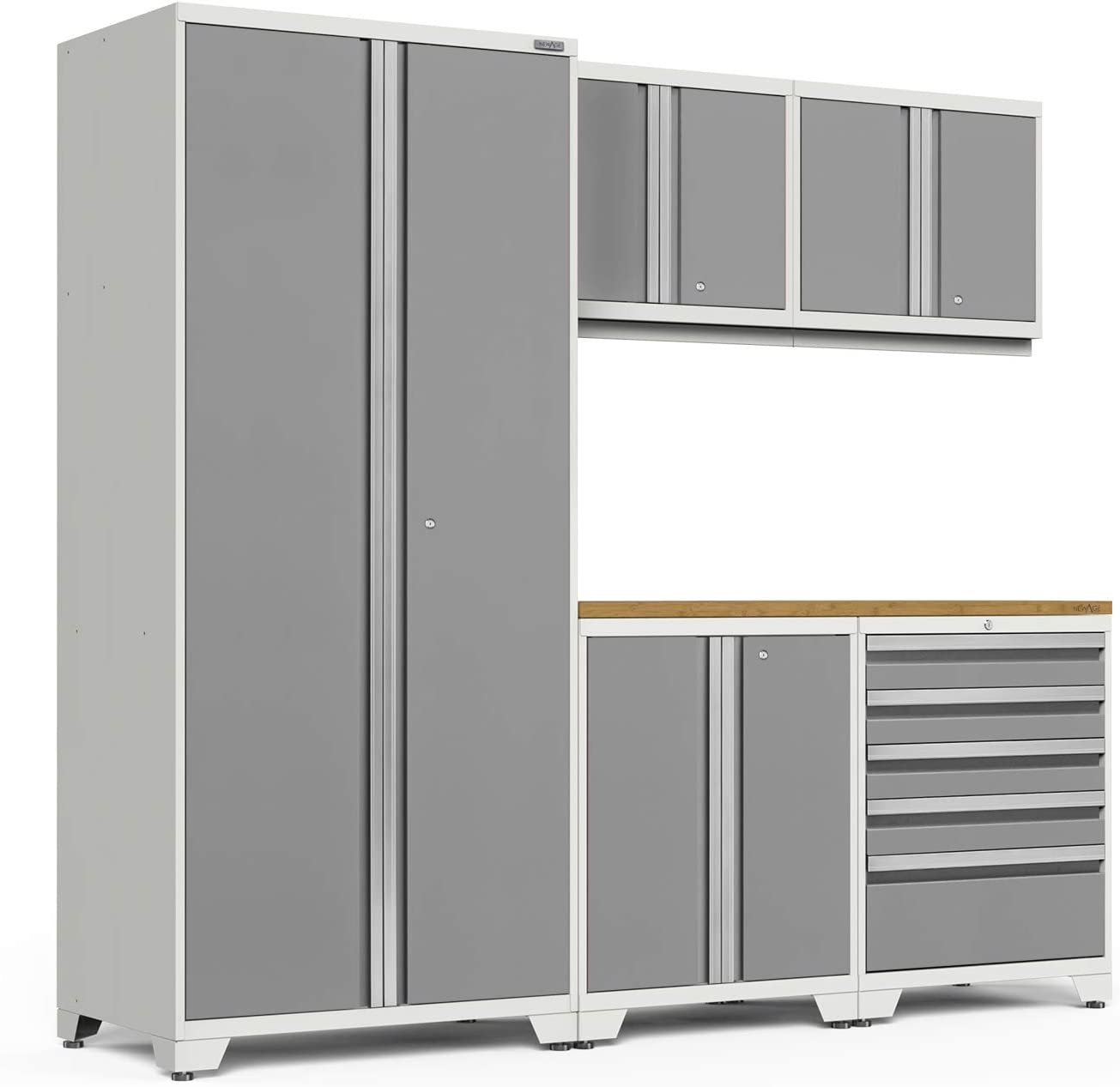 Amazon Com Newage Products Pro 3 0 Gray 6 Piece Set Garage Cabinets 58324 Home Improvement