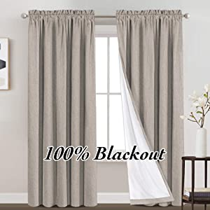 100% Blackout Curtains Primitive Linen Textured Curtain Drapes for Bedroom Full Light Blocking Window Curtains Draperies for Living Burlap Fabric Soft with White Liner (52 x 95 Inch, Taupe)