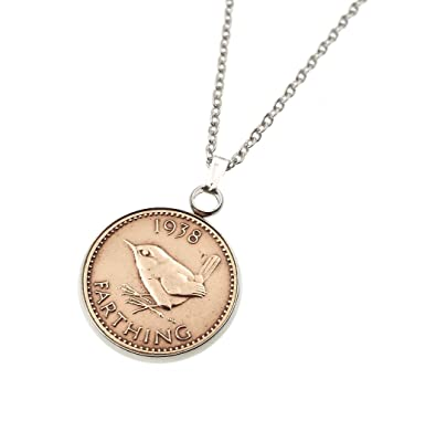 Cinch Pendant 1938 Lucky farthing 80th Birthday plus a Sterling Silver 18in Chain qHtEr7sK