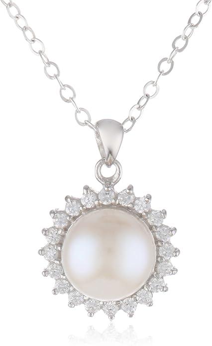 Plata Esterlina Oval seguridad Broche De Filigrana Broche 4 pearls-beads ~ 15 X 6 Mm