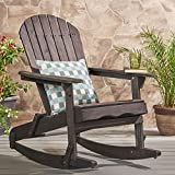 Great Deal Furniture Muriel Outdoor Dark Grey Finish Acacia Wood Adirondack Rocking Chair