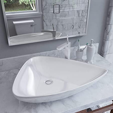 Festnight Lavabo Salle de Bain Vasque à Poser de Salle de Bain Évier  Triangulaire en céramique Blanc 645 x 455 x 115 mm