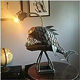 Dees Retro Custom Angler Fish Lamp Art Lamp, Angler Lamp Shark Lamp Handmade Unique Lamp LED Light Table Lamp for Bedroom, Li