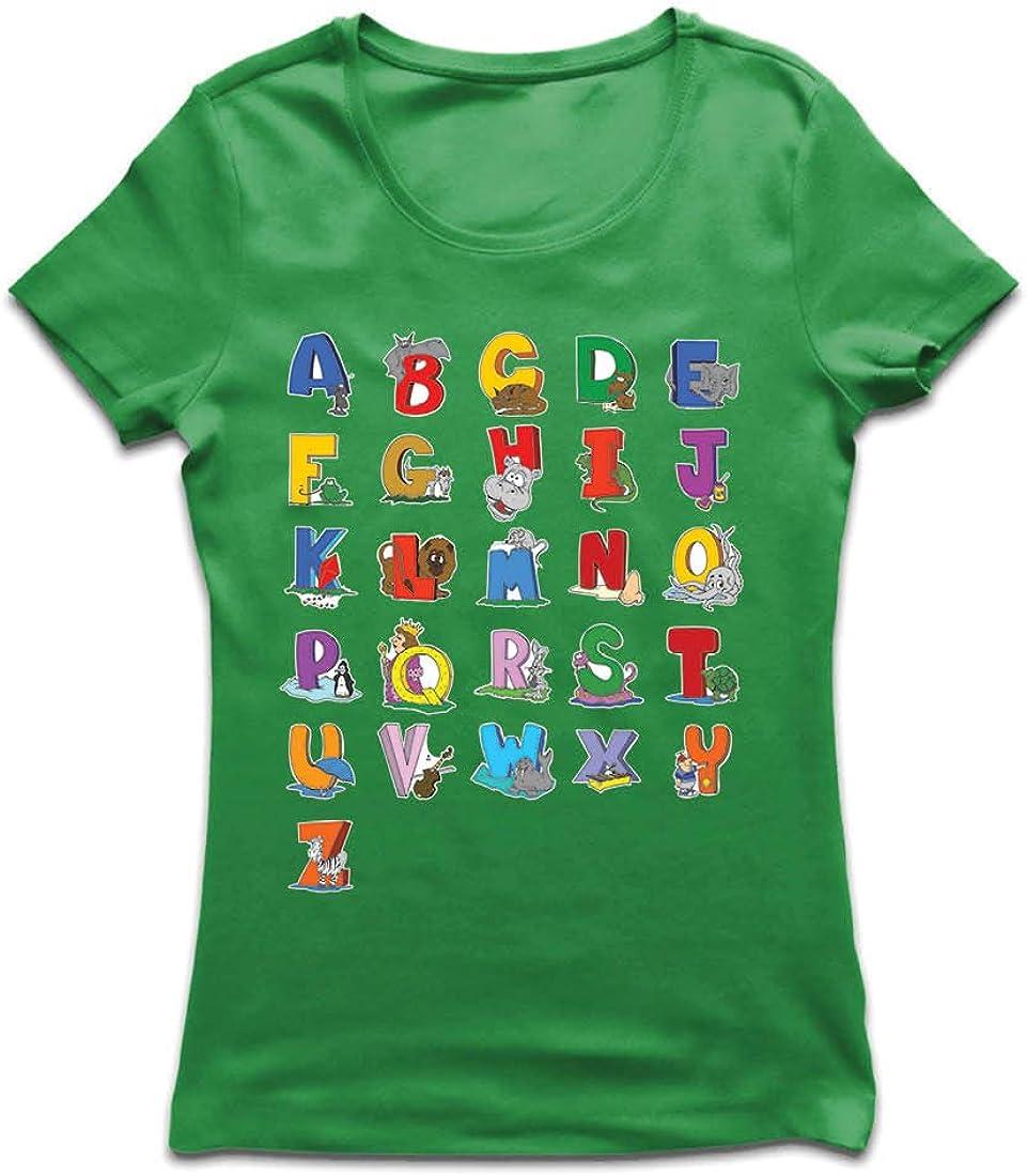 lepni.me Camiseta Mujer Alfabeto Inglés, Diseño de Canciones ABC, Aprendizaje de Letras, Regreso a la Escuela o Regalos de Graduación