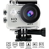 """YUNTAB Videocámara W9 WiFi de Acción-12Mp Pantalla de 2"""",Video de Alta definición 1080p,Full HD, Sumergible hasta 30m, Incluye múltiples Accesorios (Silver)"""