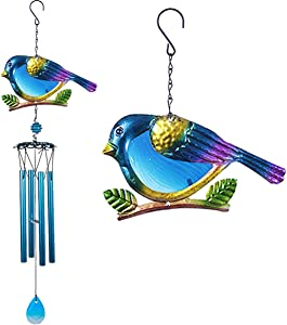 xxschy Cardinal Wind Chimes Outdoor Indoor Decor - 30 in Birds Windchime, Mobile Romantic Blue Bird Wind Chimes for Home, Xmas Mom Gifts, Room, Patio, Balcony, Festival, Tree, Garden Decoration(Blue)
