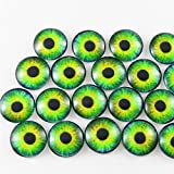 10mm gem setting - JulieWang 50PCS 10mm Mini Pure Style Dragon Eyes Round time gem cover Glass Cabochon Dome Cameo Pendant Settings Accessorries