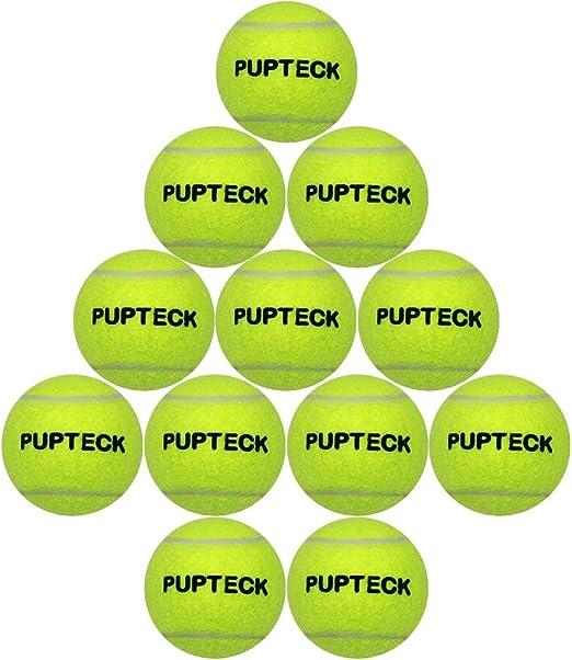 PUPTECK 12 Pack de Pelotas de Tenis para Perros chillonas para Jugar a Mascotas, Juguete Amarillo de Alta visión – 2.5 Pulgadas: Amazon.es: Productos para mascotas