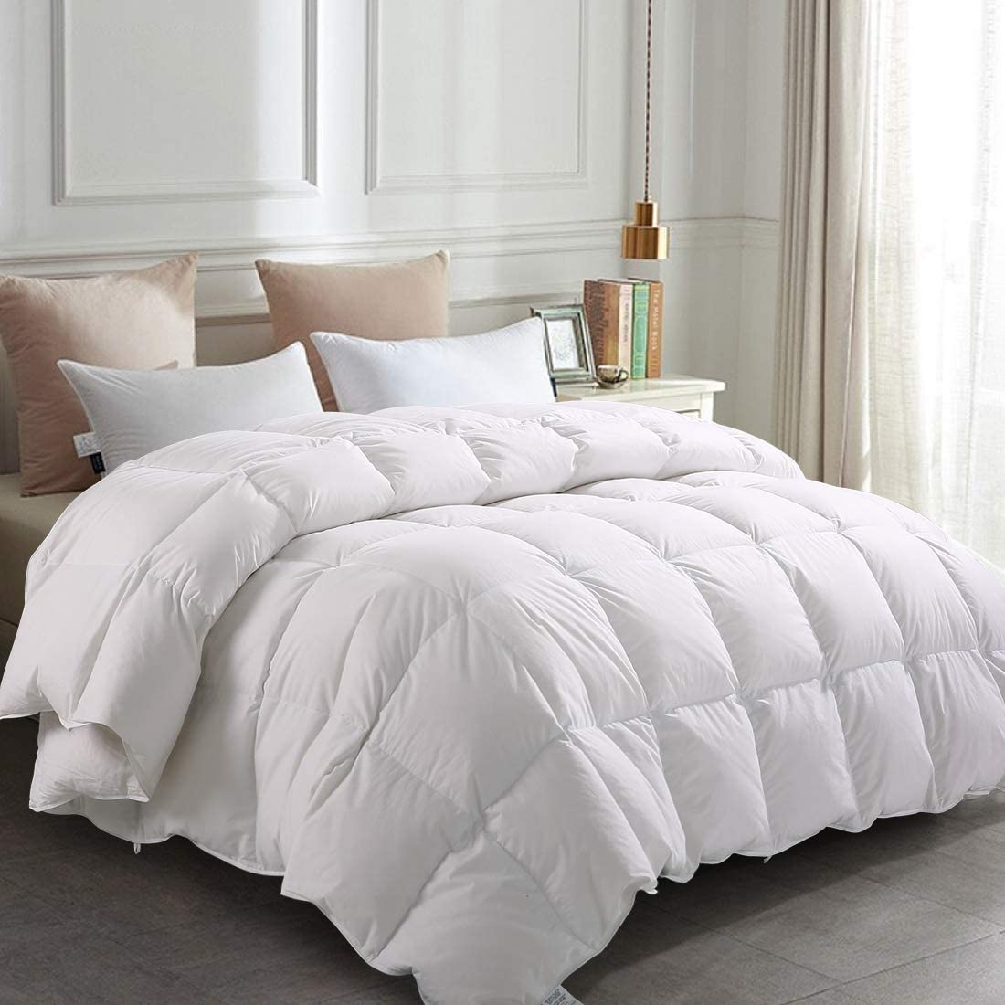 Balichun Premium Goose Down Comforter King- Solid White - Soft 1500 Thread Count Cotton Shell - 750 Fill Power - Down Duvet Insert with Tabs (White, King)