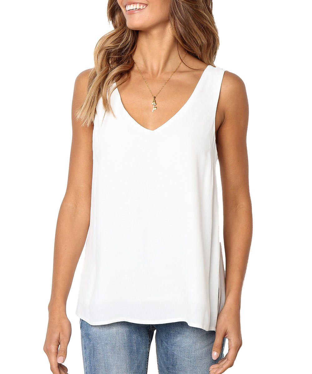 DIVINE LIGHT Women Summer Sleeveless V Neck T Shirt Casual Simple Plain Loose Tank Tops Shirts