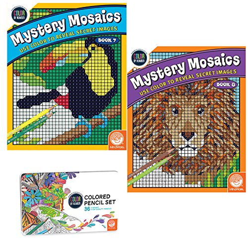 MindWare Color Number Mystery Mosaics Set: Books 7-8 pencils