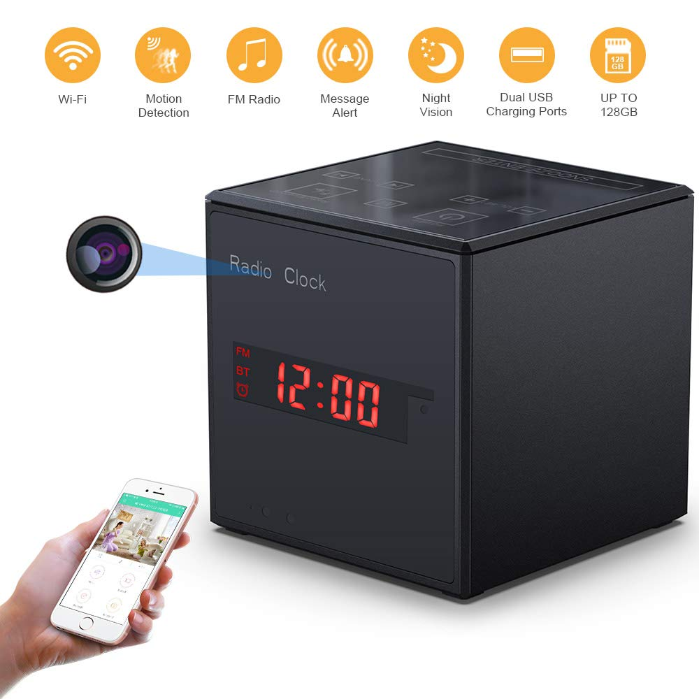 WiFi Spy Alarm Clock Radio Camera, Feipule Wireless Night Vision Clock Nanny Camera,Surveillance Camera for Home Security,Remote Live View Support iOS Android