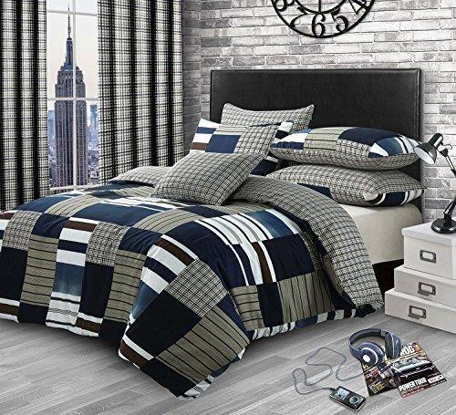 Patchwork Check Denim Print Cotton Blend King Size (Plain Navy Blue Fitted Sheet - 152 X 200CM + 25) Plain Navy Blue Housewife Pillowcases 6 Piece Bedding Set