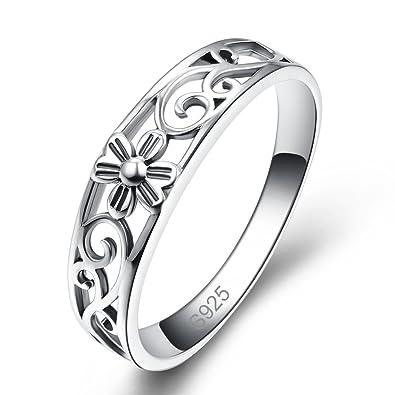 d43d524f60d9 Bonlavie Anillo de compromiso para mujer de plata de ley 925 con diseño de  flor hueca