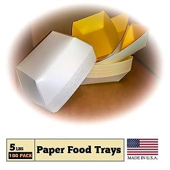 Amazon.com: Bandejas de papel para alimentos, color amarillo ...