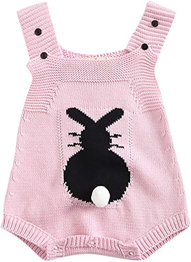 Simplee kids Baby Girl Romper Knitted Sleeveless Jumpsuit Outfit Infant Girl Fall Winter Casual Basic Clothing