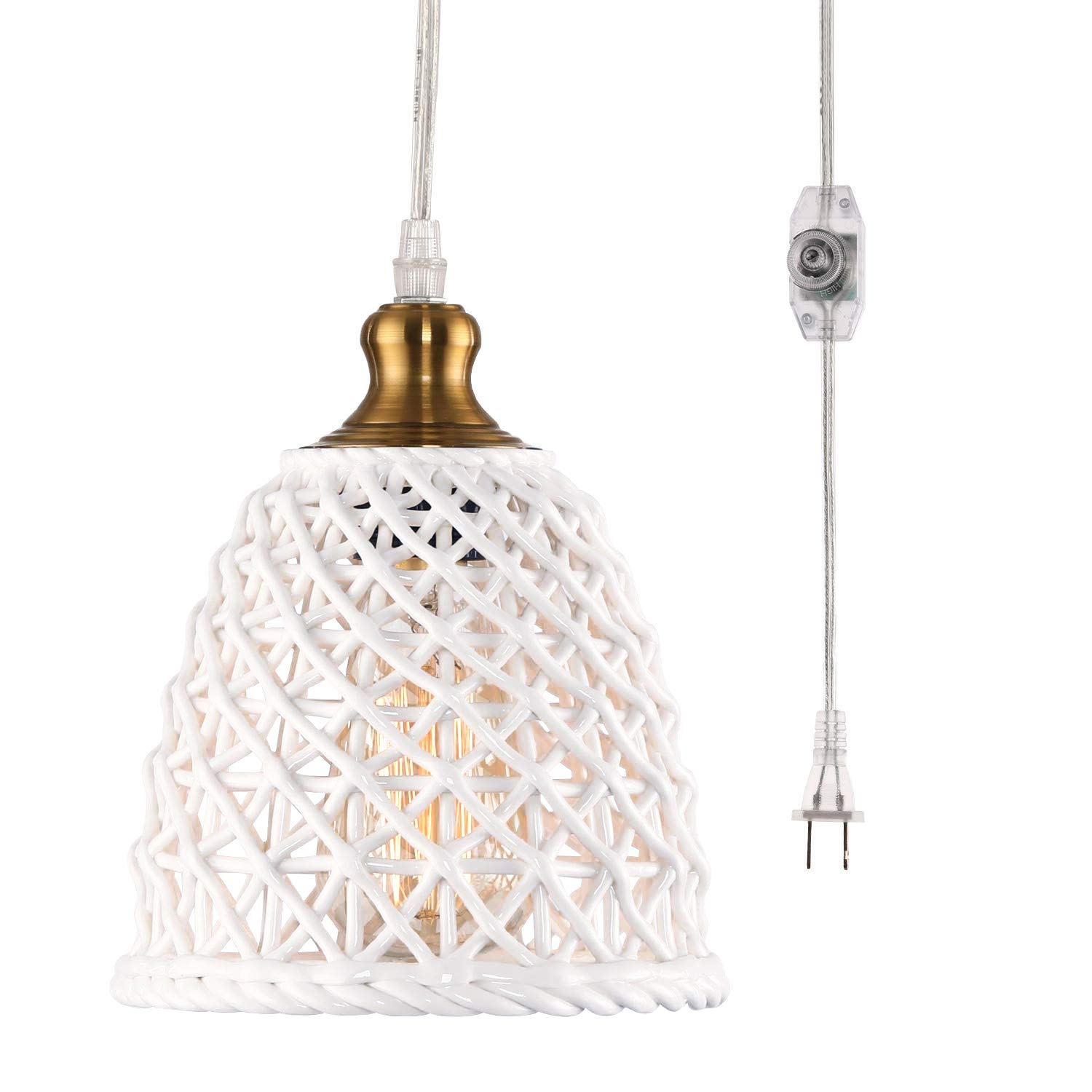 Hmvpl plug in pendant lights with 16 4 ft hanging cord and on off dimmer switch unique ceramic lighting fixture mini swag ceiling lamp for bedroom kitchen