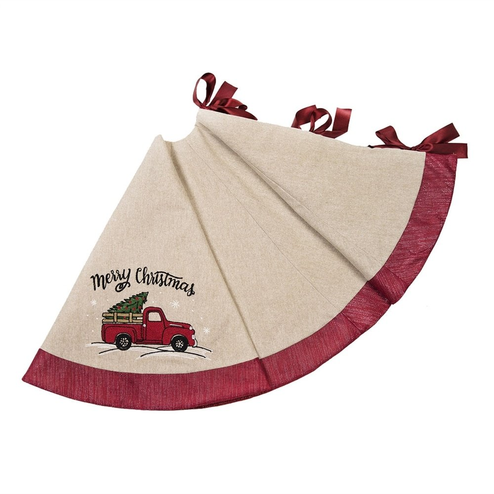 Manor Luxe Christmas Truck Tree Skirt, Natural by Manor Luxe