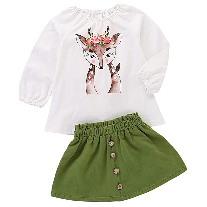 6cafd745eddb5 Toddler Kids Baby Girls Outfits Spotted Deer T-Shirt Long Sleeve Top +  Button A-line Skirt Clothes Set