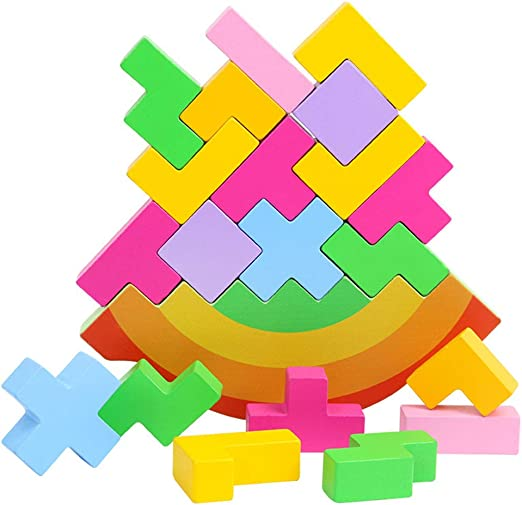Juguete Educativo para niños WFZ17, de Madera, apilable, Equilibrio de Tetris, Juego de Mesa, Desarrollo del Cerebro, Juguete para bebé - 6#: Amazon.es: Hogar