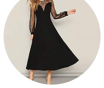 19d9727be33 SLE Lace Sweetheart A-Line Black Long Dress Spring Women Bishop SLE Elegant Maxi  Dress