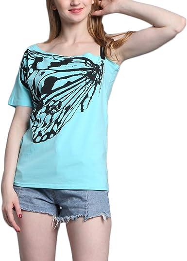 Camiseta de verano para mujer, informal, con estampado de mariposas, sin hombros, camiseta de manga corta azul claro XXXXXL: Amazon.es: Ropa y accesorios