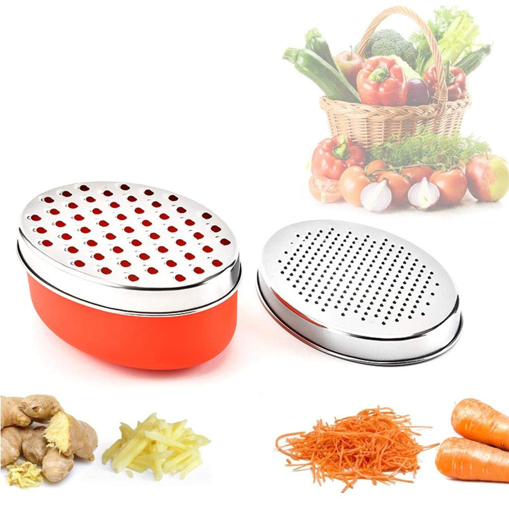 KOBWA Cheese Grater with Container - Professional 4-in-1 Stainless Steel Grater Shredder - Perfect for Hard & Soft Cheeses, Ginger, Vegetables,Fruits - Kitchen Cutting Tool - Ergonomic Handle