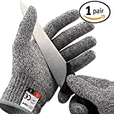 Bigear Food Grade Cut Resistant Gloves Level 5 Protection Hand protection Safty Gloves for yard-work, Kitchen (Medium)