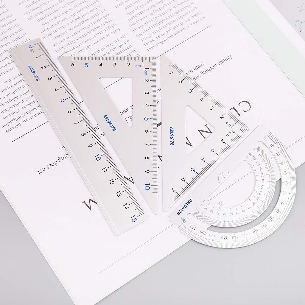 Nysunshine Ensemble de 4 fournitures scolaires de dessin /équerre /équerre rapporteur en alliage daluminium