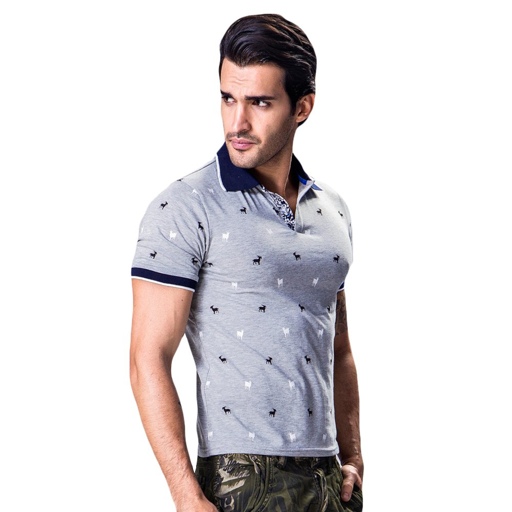 WEEN CHARM Mens Silm Fit Printed Short Sleeve Performance Deck Pique Polo Shirt